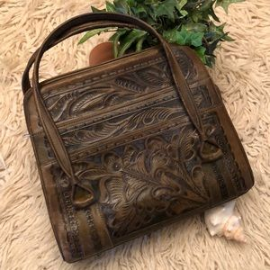 Vintage Tooled Leather Handbag-Brown-11x9x3.5-EVC